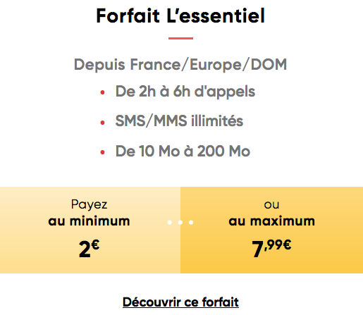 Prixtel et le forfait mobile sans engagement à 2€/mois.