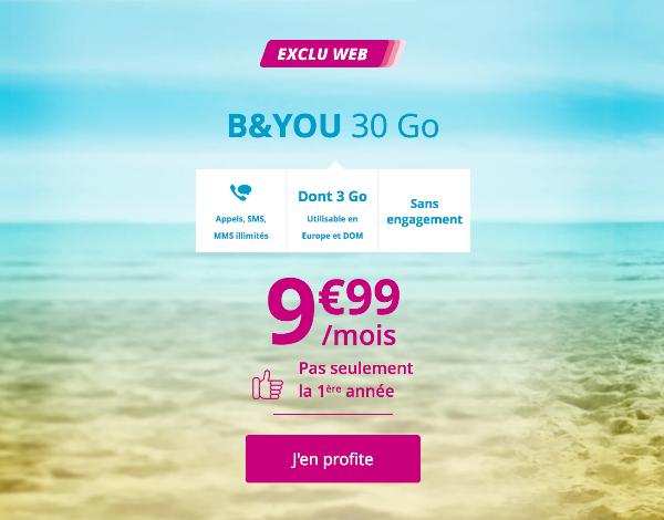Forfait mobile illimité et 4G B&YOU 30 Go en promotion.
