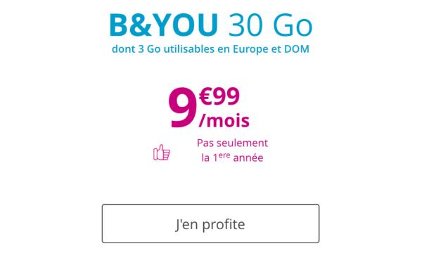 B&YOU forfait mobile 30 Go en promotion.