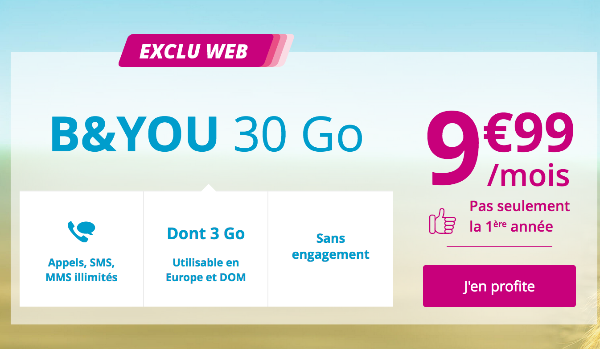 Promotion sur le forfait mobile B&YOU 30 Go pas cher.