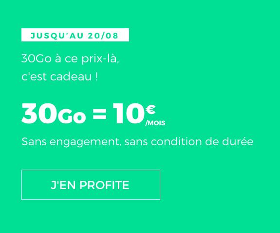 30 Go d'Internet en 4G avec le forfait mobile pas cher en promotion de RED by SFR.