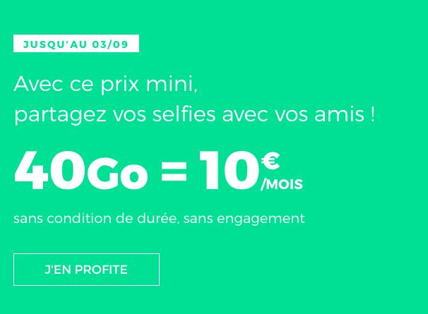 Le forfait pas cher, sans engagement et garanti à vie de RED by SFR avec 40 Go de 4G.