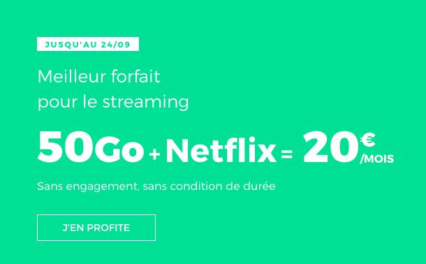 Le forfait pas cher de RED by SFR avec 50 Go, et Netflix pour un prix rond.