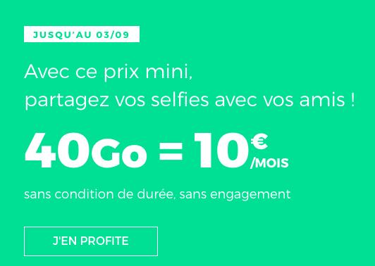 40 Go en 4G pour 10€, c'est vraiment un forfait pas cher chez RED by SFR.