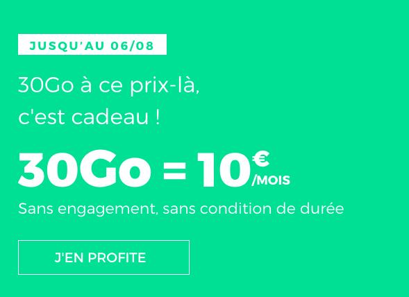 Un forfait pas cher avec 30 Go en 4G chez RED by SFR.