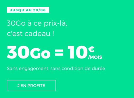 Un forfait pas cher avec 30 Go en 4G en promotion chez RED by SFR.