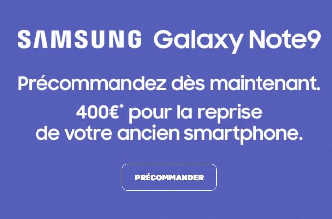 Reprise de Samsung du Galaxy Note 9 disponible chez SFR en précommande.
