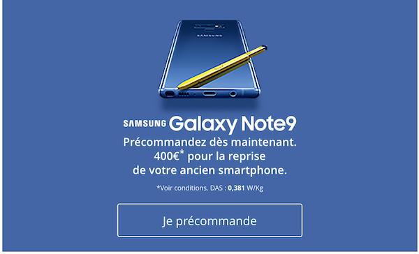 Bouygues Telecom précommande Samsung Galaxy Note9