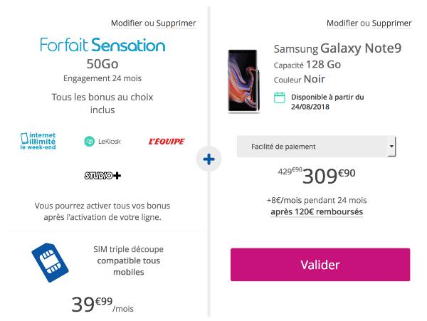 Samsung Galaxy Note9 avec Sensation 50 go de Bouygues Telecom.
