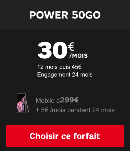 Le forfait Power 50 Go de SFR pour accéder au Galaxy Note9 de Samsung.