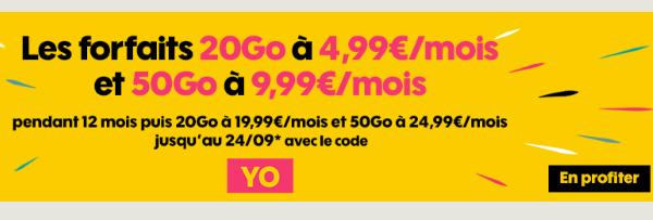 Forfait mobile Sosh 20 Go code promo