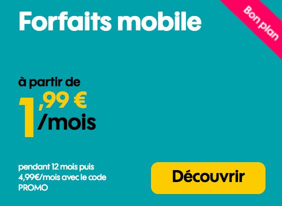 Sosh et le forfait mobile sans engagement à moins de 2€/mois.