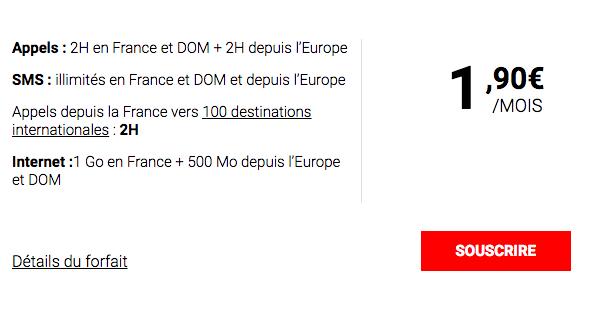 Le forfait à moins de 2 euros de Syma Mobile.