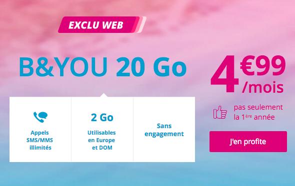 Le forfait 20 Go à 5€ de B&YOU.