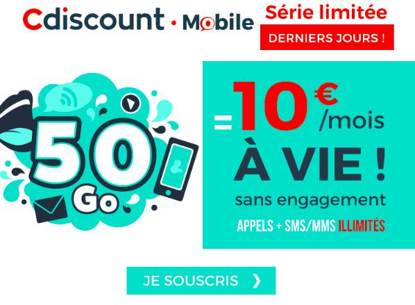 50 Go à 10€ à vie avec Cdiscount Mobile.