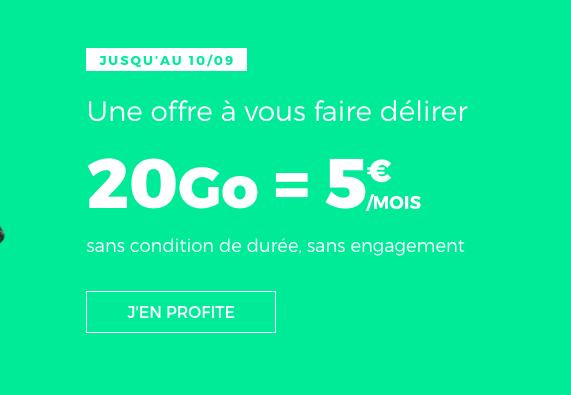 L'offre 20 Go à 5 euros de RED by SFR.