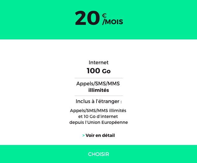 Le forfait 100 Go en 4G de RED by SFR.