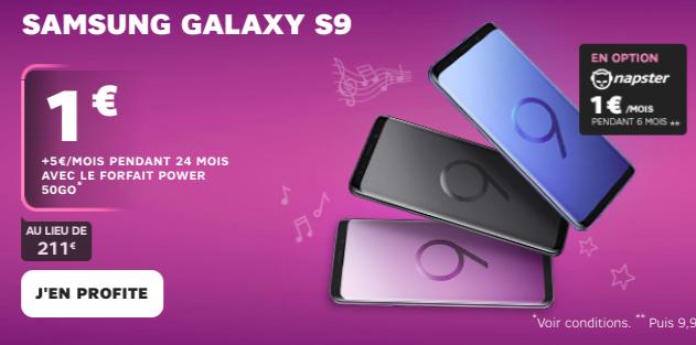 L'offre de SFR sur le Galaxy S9 de Samsung.