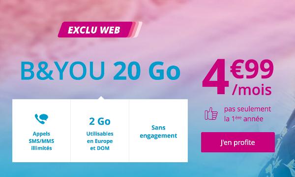 Promotion forfait mobile B&YOU 20 Go pas cher à vie.