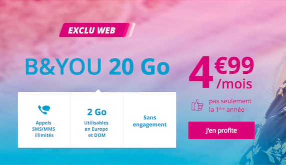 Le forfait B and YOU 20 Go