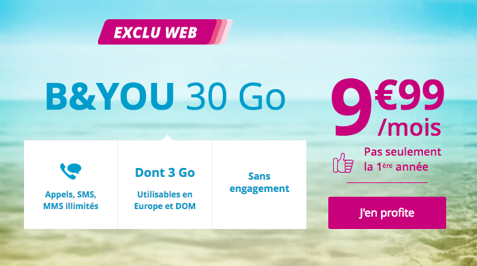 Promotion forfait mobile B&YOU 30 Go 4G.