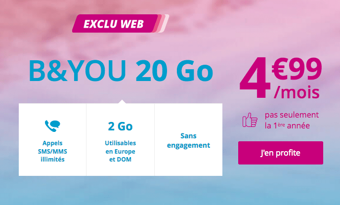 Forfait mobile B&YOU 20 Go promotion.