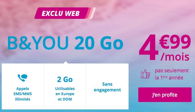 Bouygues Telecom et son forfait illimité pas cher avec 20 Go en 4G.