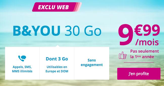 B&YOU et son forfait téléphonique pas cher avec 30 Go en 4G pour surfer sur Internet.