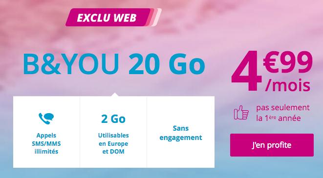 forfait pas cher de Bouygues Telecom avec 20 go en 4G