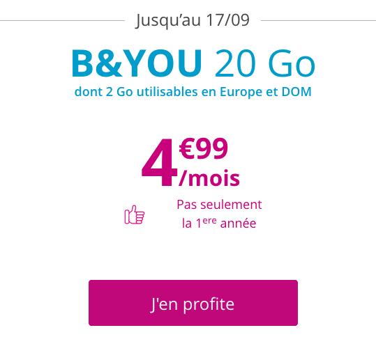 B&YOU et Bouygues Telecom possèdent un forfait pas cher illimité avec 20 Go d'Internet.