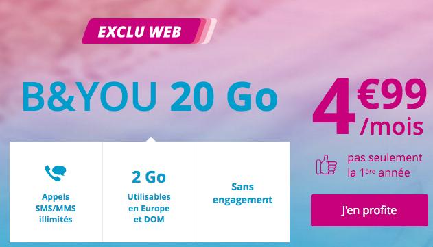 20 go pour seulement 5€/mois avec ce forfait pas cher de Bouygues Telecom