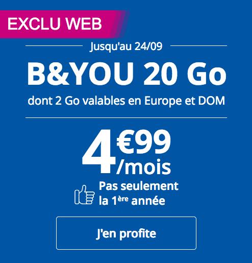 Le forfait mobile sans engagement de B&YOU, avec 20 Go de données mobiles en 4G.