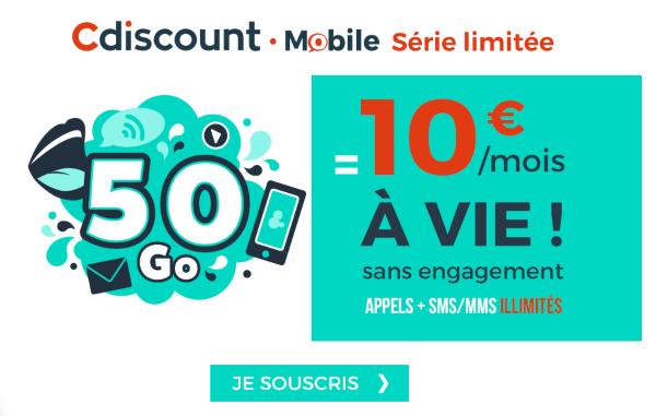 Cdiscount mobile promotion forfait sans engagent et riche en 4G.