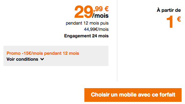 Remises sur le forfait illimité pas cher de Orange avec un smartphone.