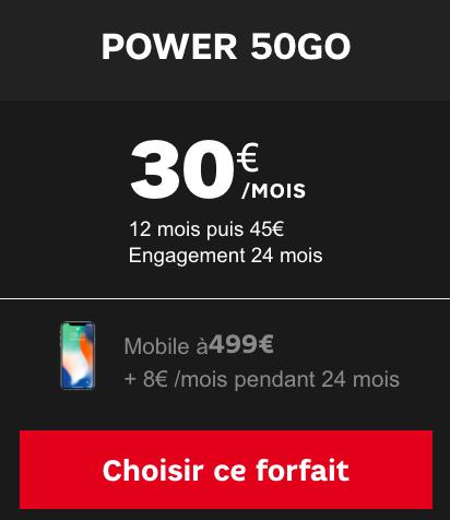 Promotion pour un smartphone acheté avec un forfait illimité pas cher de SFR, Power 50 Go.