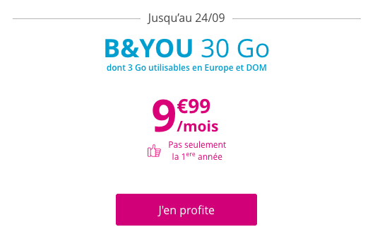 Le forfait 4G B and YOU 30 Go