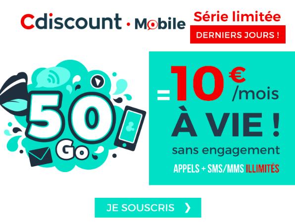 Le forfait de Cdiscount Mobile 60 Go en promo