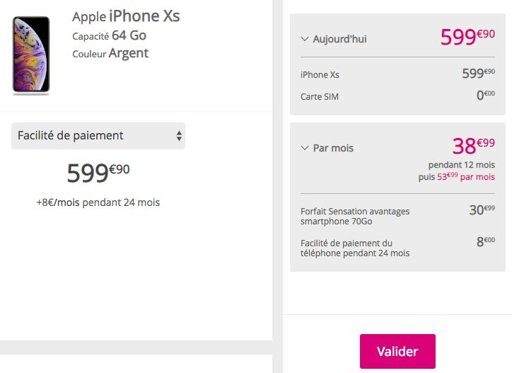 Les iPhone XS et XS Max avec un forfait Bouygues Telecom.