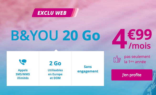 B&YOU 20 Go forfait mobile promotion.