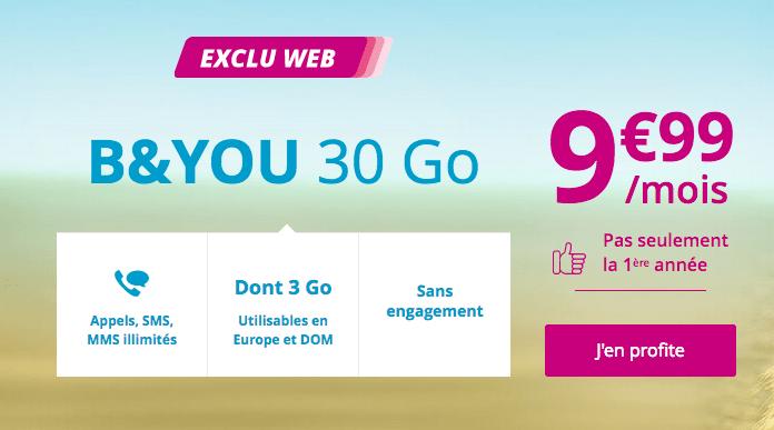 Forfait mobile sans engagement B&YOU 30 Go 4G promotion.