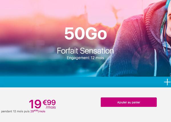 Bouygues Telecom forfait mobile avec engagement sensation 50 Go.