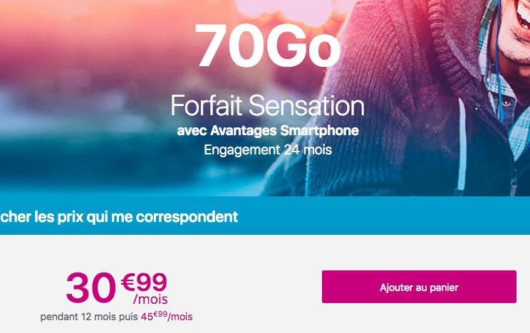 Forfait Sensation 70 Go pour obtenir Samsung Galaxy S9 promotion.