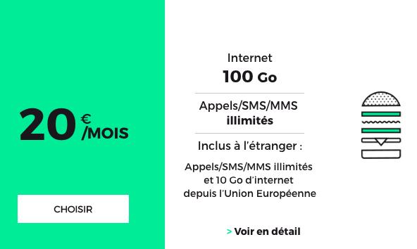 Le forfait RED 100 Go à 20€ par mois.