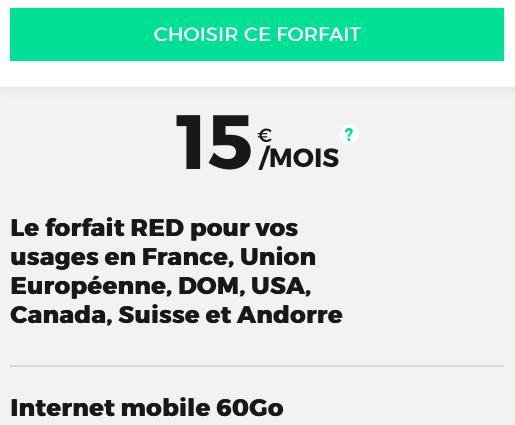 Pas cher le forfait mobile de RED by SFR avec 60 go en 4G.