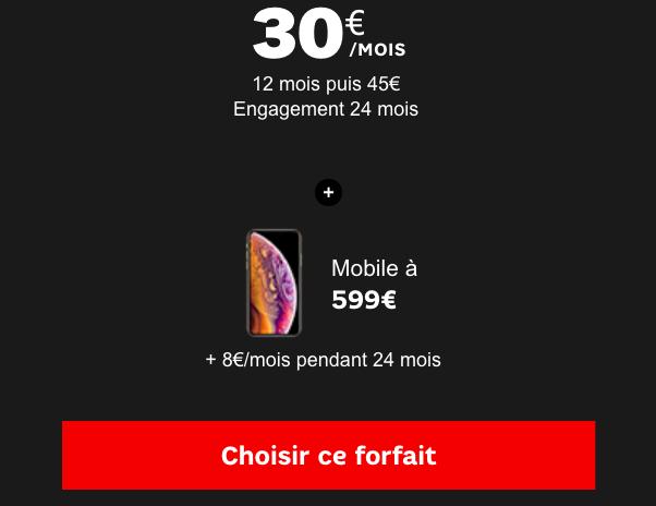 Quel forfait choisir chez SFR pour un iPhone XS ou XS Max au meilleur prix ?