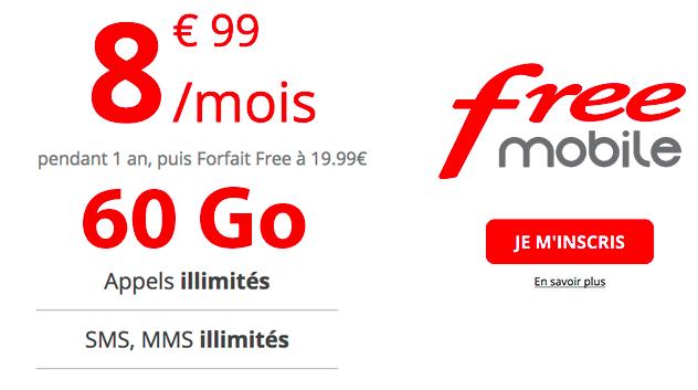 Le forfait 60 Go illimité de Free