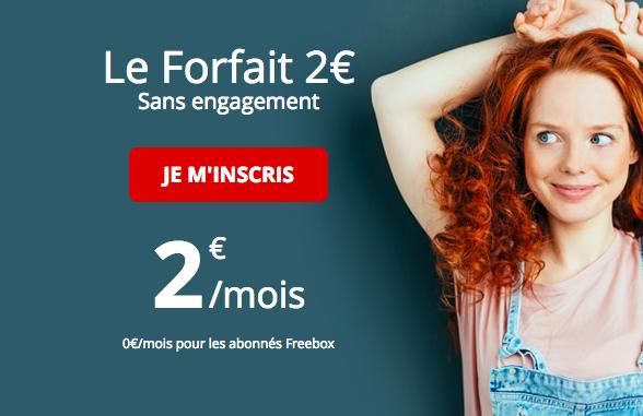 Free propose toujours le forfait à 2 euros.