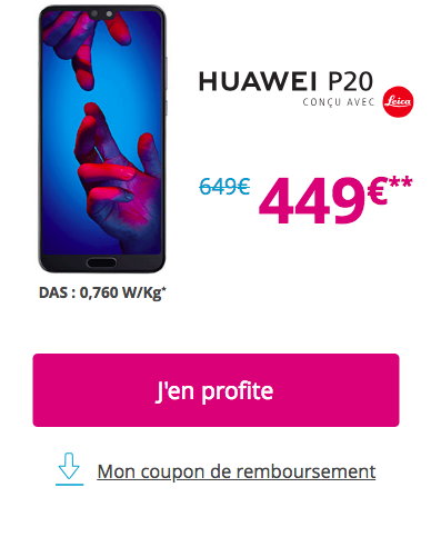 Le Huawei P20 chez Bouygues Telecom en promo