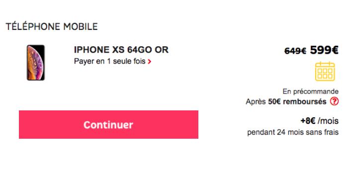 Le prix de l'iPhone XS chez SFR