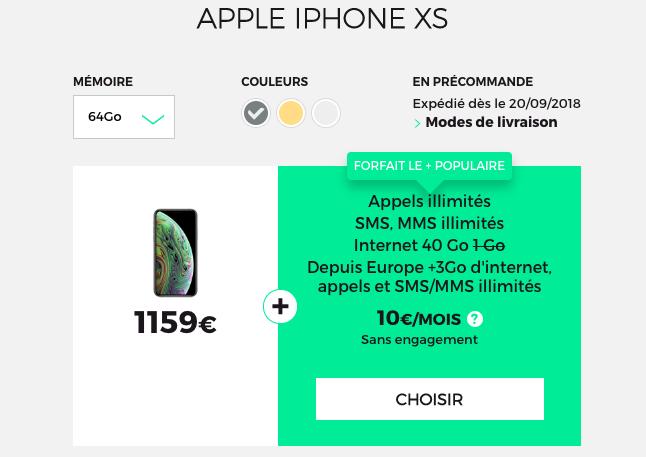 Les iPhone XS et XS Max disponibles en précommande chez RED by SFR